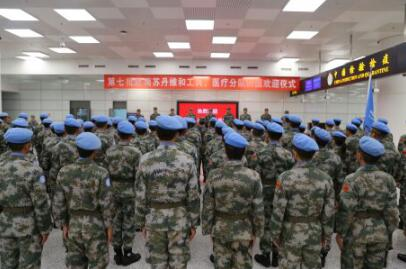 我赴南蘇丹(瓦烏)維和部隊第一梯隊順利回國
